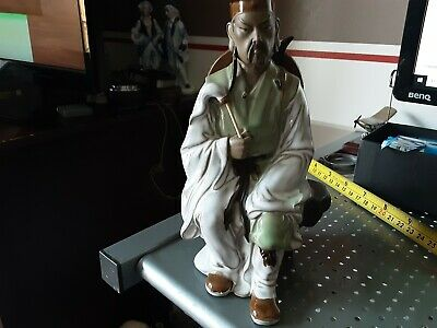 Chinese Shiwan Pottery Part Glazed Figurine Mudman Seated Warrior Sword Shield