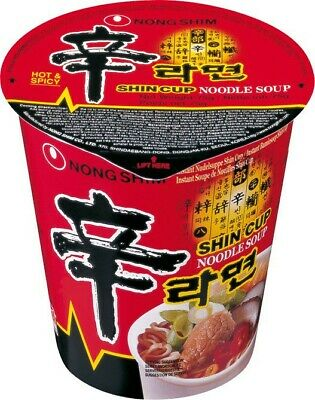 (14,69€/1kg) [ 12x 68g ] NONG SHIM Shin Cup / Instant Nudelsuppe HOT & SPICY