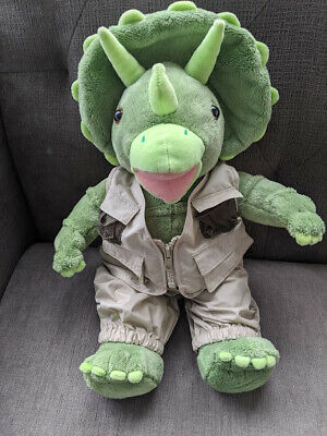 Build a Bear Dinosaur Triceratops Plush BABW Stuffed Animal Green Dino W/Sound