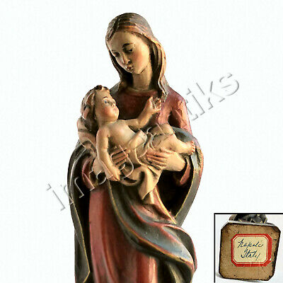 Madonna & Child Exquisitely Hand Carved & Painted Wood Figurine Naples, Italy