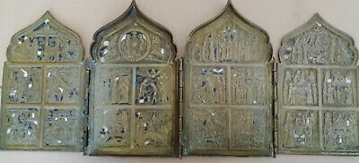 Tetraptychon Antike russische Ikone  Antique russian Icon icona Icone