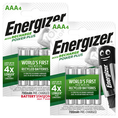 8 x Energizer Power Plus AAA HR03 700mAh Pre-charged Rechargeable Batteries