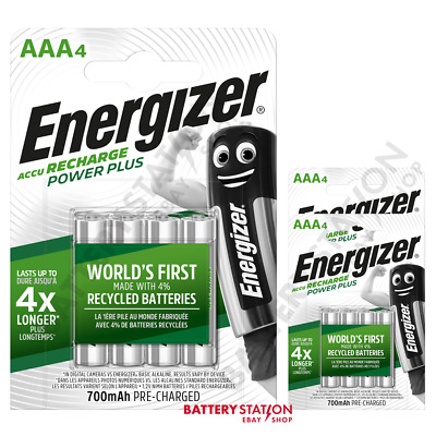 12 x Energizer Power Plus AAA HR03 700mAh Pre-charged Rechargeable Batteries