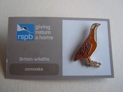 RSPB 'Giving Nature A Home' Corncrake Pin Badge - BN on Grey & White Card