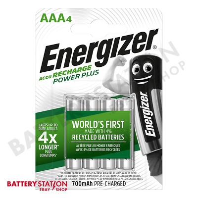 Energizer Power Plus AAA HR03 700mAh Pre-charged Rechargeable Batteries   4 Pack