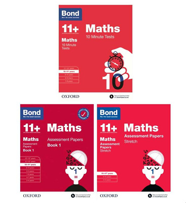 Bond 11+ Plus Maths Assessment Papers 3 Books Pack, Age 10-11
