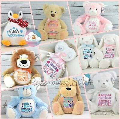 Personalised Teddy Bears Embroidered Teddy New Baby gift Christening gift