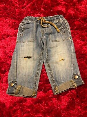 Blue denim distressed ripped style jeans trousers with drawstring 12-18 months