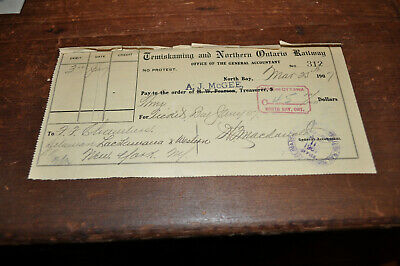 Temiskaming and Northern Ontario Railway 1907 Railroad Bank Check to DL&W RR NR!
