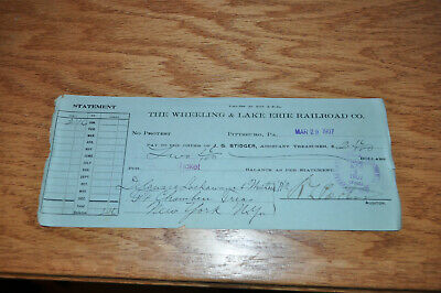 1907 Wheeling & Lake Erie Railroad Co Bank Check to Delaware Lackawanna Western!