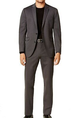 Reaction Kenneth Cole Mens Suit Gray Size 40 Two Button Notch-Collar $325 082