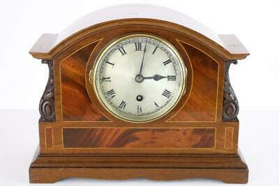 EDWARDIAN MANTEL CLOCK timepiece COVENTRY ASTRAL ENGLISH MECHANISM inlaid case