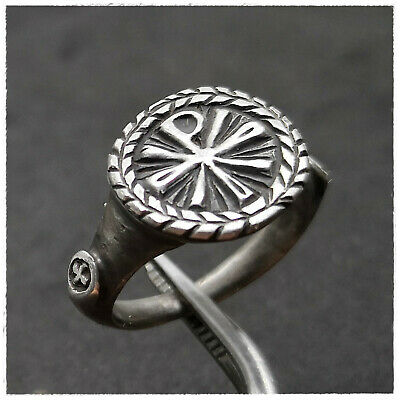 """ CHI-RHO "" ancient SILVER Roman ring !!!! 8,13g"