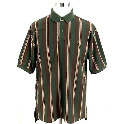 TOMMY HILFIGER Men's Short Sleeve Polo Shirt Button Front Striped Brown Green XL