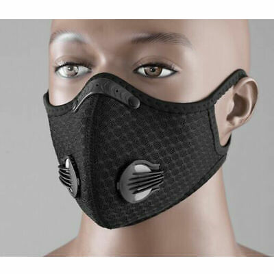 1 Black + Filters Dustproof COVER FOR FACE Bike Pollution Breathable Smog Dirt
