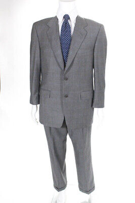 Canali Mens Plaid Long Sleeve Blazer Pants Suit Gray Wool Size 50