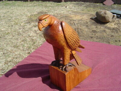 Vtg Hand Carved Folk Art Figurine Of Wooden Eagle With Glass Eyes/Phil Dominique