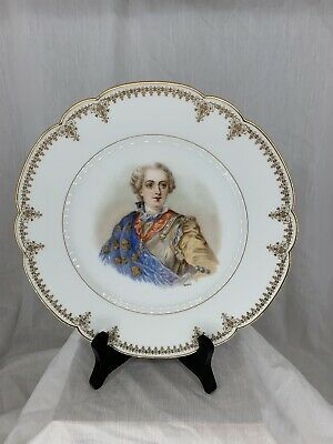 """Hand Painted Signed Serves-Limoges Cabinet Plate """" Louis XV"""" Chateaux"""