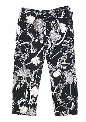 Alfani Womens Pants Black Size 2X Plus Wide-Leg Floral Print Stretch $69 142