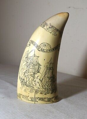 BIG vintage Artek liberty scrimshaw resin nautical sailboat replica whale tooth