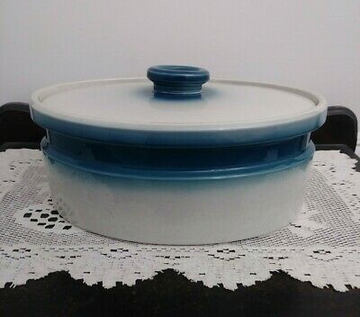 """Wedgwood Oven to Table Blue Pacific Oval Covered Casserole Dish 10 1/2"""" Vintage"""