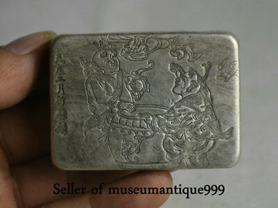 6CM Marked Old Chinese Silver Dynasty Child Kid Bat ink cartridge Box Case