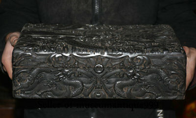 "13.8"" Marked Old Chinese Black Ebony Wood Dynasty Carved Dragon Box Cabinet"