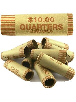 100 Five Cent Nickel Flat Paper Pop-Open Coin Wrappers Tubes New Free Shipping