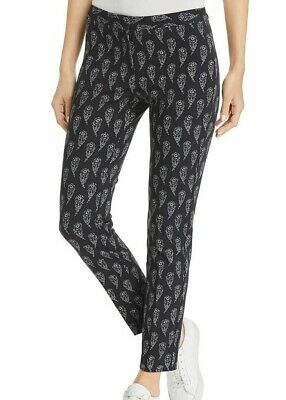 Le Gali Womens Pants Black Size 14 Mid-Rise Floral Straight Leg Stretch $129 372