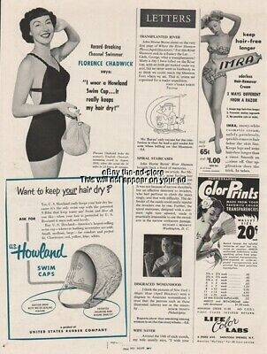 1951 English Channel Swimming Florence Chadwick US Howland Swim Caps Ad