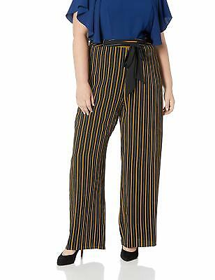 City Chic Womens Pants Black Size 24W Plus Striped Belted Stretch $85 191