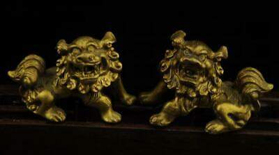 A Pair China old antique hand made brass lion statue b01