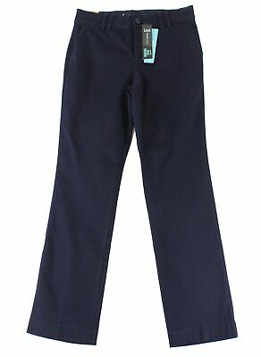 Lee Womens Pants Blue Size 6 Short Straight-Leg Eased-Fit Chinos Stretch $48 608