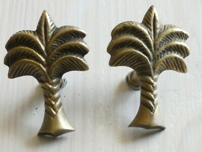 Brass Palm Tree  Handles PAIR