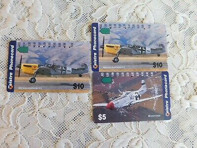 3 Used Vintage Telstra Phonecards Aeroplanes