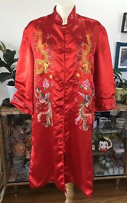 Vintage Red Oriental Embroidered Chinese Duster Coat Jacket M 10-12