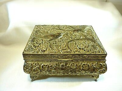 Collectable Antique Metal & Wooden Birds & Flowers Jewellery Box