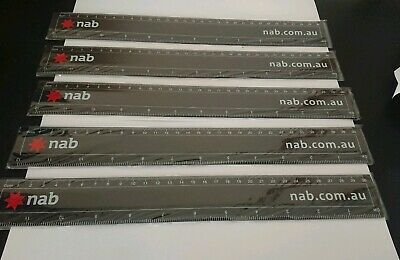 x 5 Collectable NAB National Australia Bank 30cm  Rulers~New In Packaging