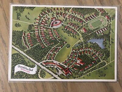 Mint 1936 German Olympics Village Coloured Post Card; WWII Era Stamped Used Rare
