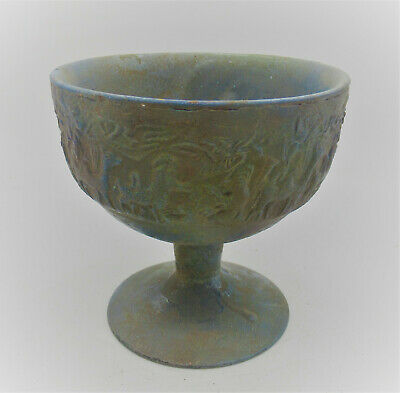 Scarce Ancient Persian Iridescent Glass Chalice Cup With Animal Impressions