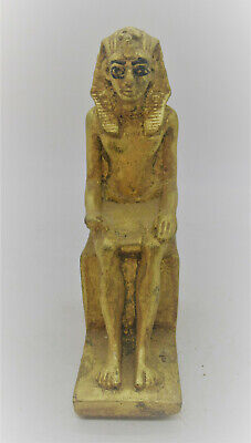 Rare Ancient Egyptian Gold Gilded Stone Seated Pharoah Statue With Heiroglyphics