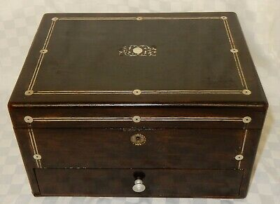 Antique Inlaid Mahogany Jewellery Work Sewing Box D19
