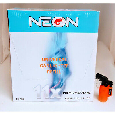 NEON 11X Butane 300ml POWER FILTERED Refined (12 CANS) with 45 angle lighter