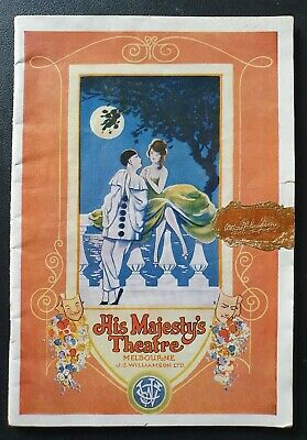 HIS MAJESTY'S THEATRE MELBOURNE PROGRAMME 1926 Vintage J.C Williamson Australia