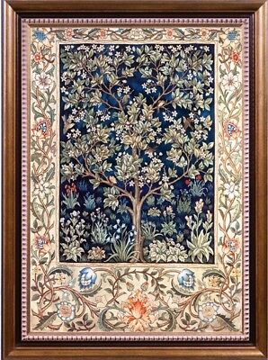 Printed 9-11CT Cross Stitch Kit William Morris Wall Paper Tree of Life Silk/Cott