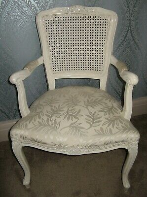 Shabby Chic French Louis style painted & jacquard upholstered chair. VGC