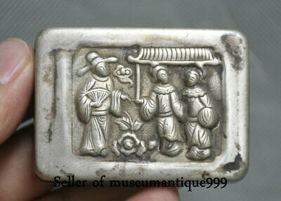 6CM Old Chinese Miao Silver Dynasty People Official square ink cartridge Box