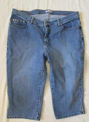 Lee At The Waist Cropped stretch denim Blue Jeans Relaxed Fit Capri 16W * Nice