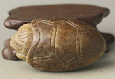 Chinese old natural hetian jade hand-carved statue tortoise pendant 2 inch
