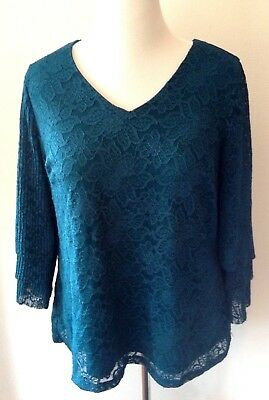 CHARTER CLUB WOMAN Plus Size 0X Lace Blouse Top Emerald Green NEW NWT